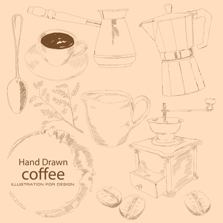 steel mill: Subject coffee is drawn by hand, coffee cup, kofevrkoy, coffee zrnami, a branch of the coffee tree, hand grinder, a spoon, Turks prigtovleniya to drink.