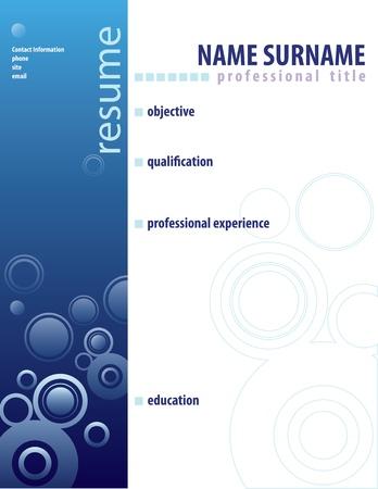Resume form in the blue light blues. Vector illustration.