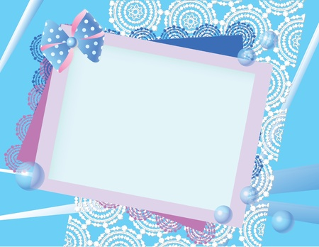 Background in blue and pink with lace bow and spheres. Vector illustration. Illustration