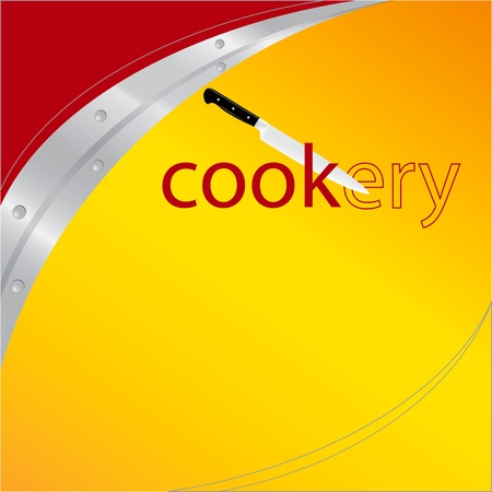 Background on the culinary theme with a kitchen knife. Vector illustration. Transforming words into cookery cook.