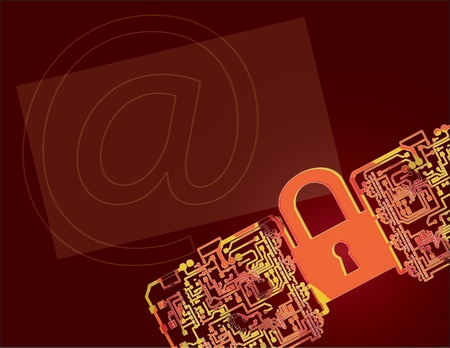 electronic circuit: Creative background on Internet security. Vector illustration.
