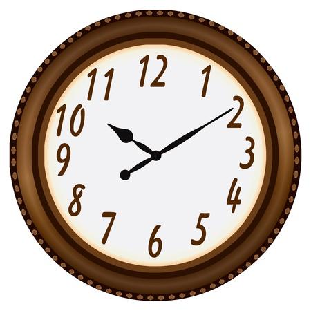 timekeeper: Watch in decorative wooden circular frame. Vector illustration. Illustration