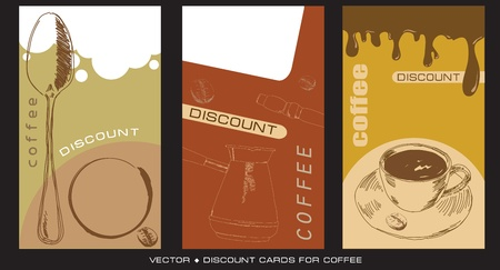 A set of discount cards for cafeterias and businesses selling coffee. Vector illustration.