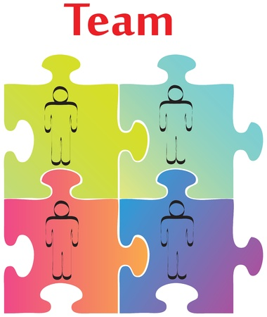 starting a business: Vector of four jigsaw puzzle pieces on the topic of team building. Illustration
