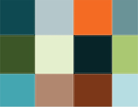 textiles: Decorative background. Vector illustration. Colored squares are stitched with thread.
