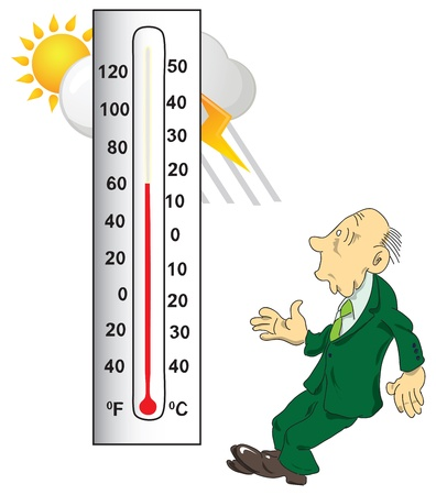 considers: Surprised man considers the thermometer. Vector illustration.