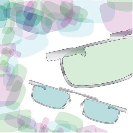Abstract background simulates glass of sunglasses. Sunglasses in a steel frame.  Ilustração