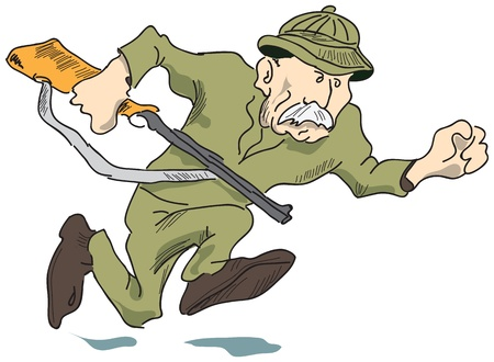 A hunter with a gun has the prey, vector illustration.