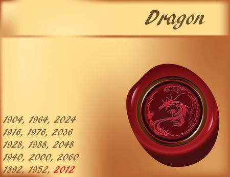 East calendar. Year of the Dragon. Vector background. Stock Vector - 12017438