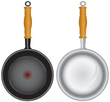 Steel and Teflon pans with a wooden handle. Vector illustration. Illustration