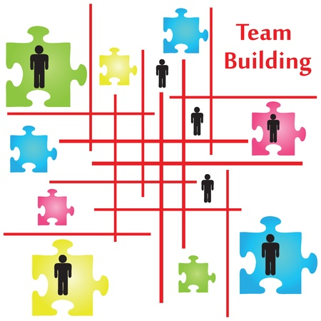 Vector of four jigsaw puzzle pieces on the topic of team building. Vector