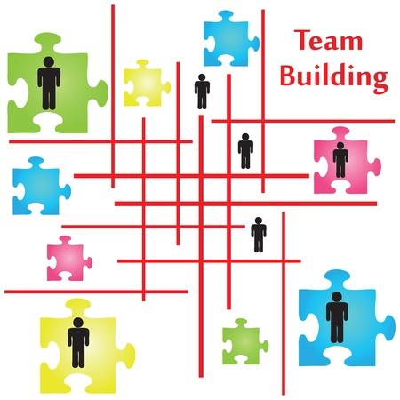 Vector van vier puzzelstukken op het onderwerp van teambuilding.