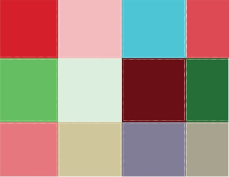 Decorative background. Vector illustration. Colored squares are stitched with thread. Stock Vector - 12017442