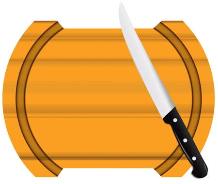implements: Figured kitchen board of light wood with a knife. Vector illustration.