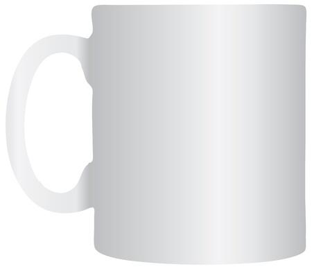 dinnerware: Office white ceramic mug much. Vector illustration.