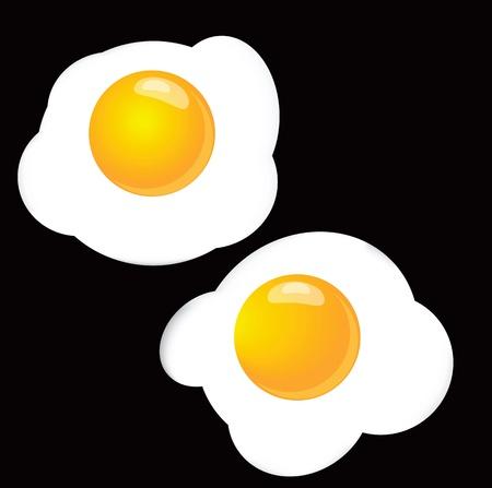 fritto: Uova strapazzate, due su uno sfondo nero. Illustrazione vettoriale.