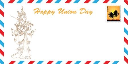 Happy Day Unie - Birma. Het concept van wenskaarten in het formaat van de e-mail envelop. Vector illustratie. drawing hands