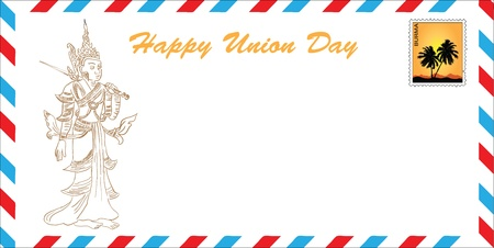 Happy Union Day - Burma. The concept of greeting cards in the format of the mail envelope. Vector illustration. drawing hands Vector