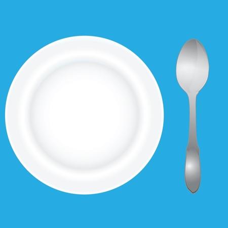Diepe schotel voor soepen met een lepel. Vector illustratie.