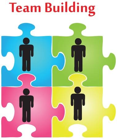 Vector de cuatro piezas de puzzle en el tema de la formación de equipos. Ilustración de vector