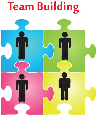 Vector of four jigsaw puzzle pieces on the topic of team building. Ilustração