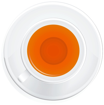 White ceramic cup on a saucer with tea. Vector illustration. Stock Vector - 12200173