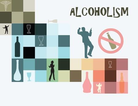 alcoholismo: Tema del alcoholismo como una enfermedad de la adicci�n al alcohol. Ilustraci�n del vector. Vectores