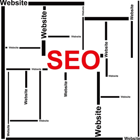 Creativity on SEO. Consolidation and promotion of sites on the Internet. Vector illyustatsiya. Banco de Imagens - 12200211