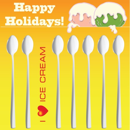 I love ice cream, Creative with spoons on holidays. Vector illustration.
