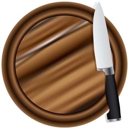 cutting board: A kitchen knife on a cutting board round. Vector illustration.