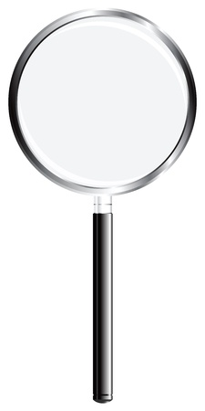 A magnifying glass applied to criminalistics, science and everyday life. Vector illustration.
