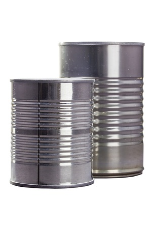 Two tin cans isolated on a white background. Stock Photo - 12200213