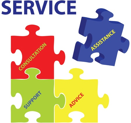 client service: Vector illustration of puzzles with words on the topic of service.