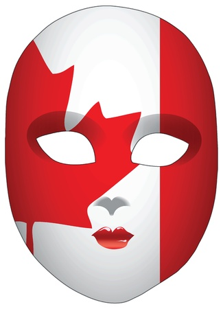 statehood: Classic mask with symbols of statehood of Canada. Vector illustration