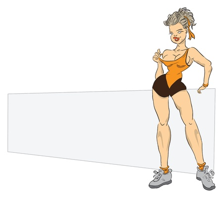 A woman with a sports figure on the background of the poster. Message to a fitness club. Vector illustration. Vector