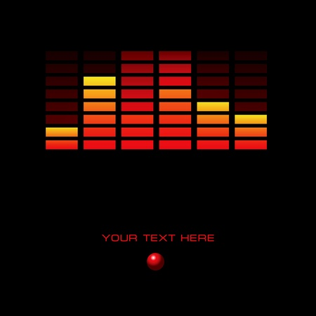 Abstract background with a display and red button. Vector illustration.