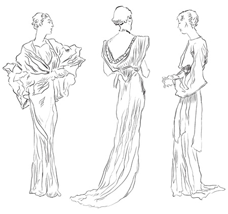 Three female figures in evening dresses. Vector illustration, hand-drawing. Illustration