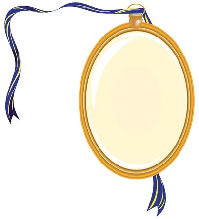 Gold medallion on a blue ribbon. Vector illustration. 向量圖像