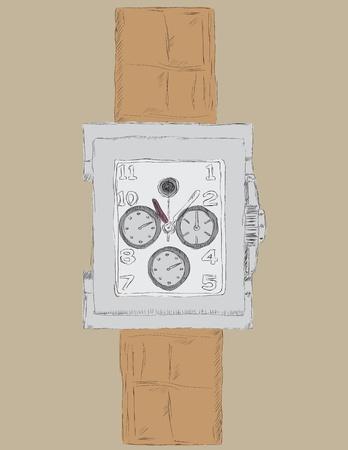 timekeeper: Womens modern clock, drawn by hand. Vector illustration. Illustration