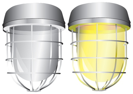 Industrial lamp, options to include or without illumination. Vector illustration.