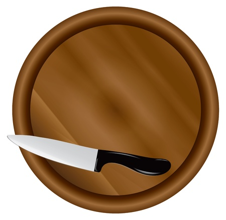 Kitchen board with a kitchen knife. Vector illustration.