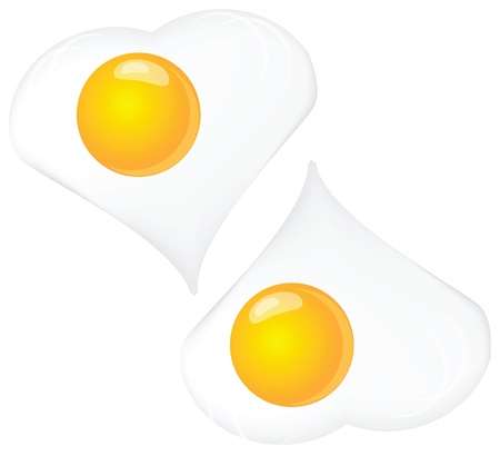 Scrambled eggs, two on a white background. Vector illustration.