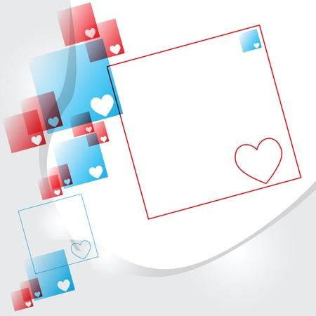 파란색과 빨간색 사각형, 연결에서 마음. 벡터 일러스트 레이 션.