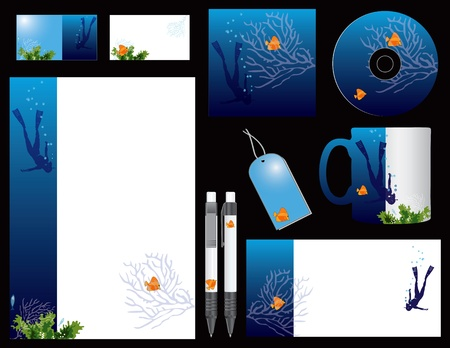 fish form: Corporate identity for businesses involved in scuba diving. Vector illustration.