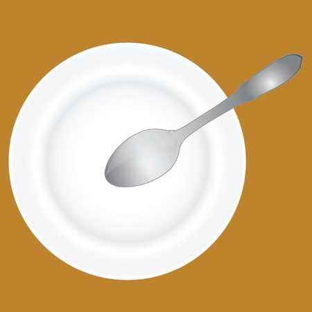 Spoon into an empty soup plate. Vector illustration. Иллюстрация