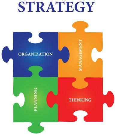 pensamiento estrategico: Vector de cuatro piezas de puzzle con las palabras sobre el tema de la estrategia. Vectores