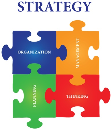 Vector of four jigsaw puzzle pieces with words on the topic of strategy. Illustration