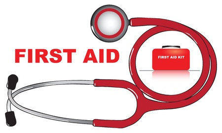 first aid box: The concept of first aid. Vector illustration.
