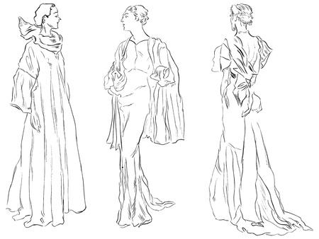 robes de soir�e: Trois figures f�minines en robes de soir�e. Vector illustration, dessin � la main. Illustration