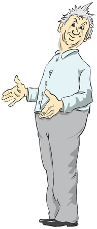 expresses: Middle-aged man dressed in a blue-gray color.  illustration expresses surprise.